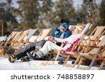 happy couple in love at... | Shutterstock . vector #748858897
