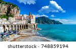 the amalfi coast in italy | Shutterstock . vector #748859194