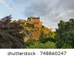 view of the edinburgh castle at ... | Shutterstock . vector #748860247