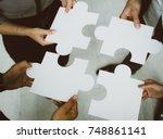 hands of business people... | Shutterstock . vector #748861141
