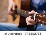 musician lifestyle guitar... | Shutterstock . vector #748862785