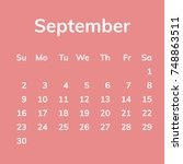 september 2018 calendar  week... | Shutterstock .eps vector #748863511