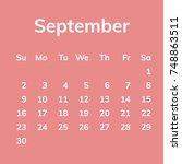 september 2018 calendar  week...   Shutterstock .eps vector #748863511