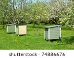 Beehives In Garden With Green...