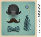 set of gentleman accessories.... | Shutterstock .eps vector #748866865