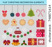 set of flat christmas and new... | Shutterstock .eps vector #748871614