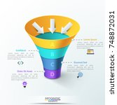 vertical funnel divided into 4...   Shutterstock .eps vector #748872031