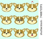 dog corgi smiley  a lot of... | Shutterstock .eps vector #748873591