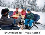 skiing  winter fun   father... | Shutterstock . vector #748873855