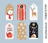 vintage christmas gift tags set.... | Shutterstock .eps vector #748875799