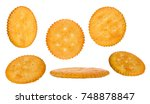 round cheese crackers with salt ... | Shutterstock . vector #748878847