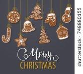 set of christmas gingerbread... | Shutterstock .eps vector #748880155