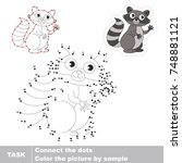 raccoon. dot to dot educational ... | Shutterstock .eps vector #748881121