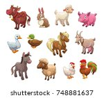 Stock vector set of cute cartoon farm animals isolated icons on white background vector illustration 748881637