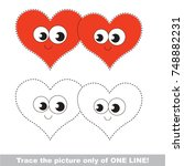 love hearts to be traced only... | Shutterstock .eps vector #748882231