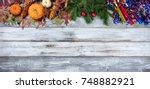 year end seasonal decorations...   Shutterstock . vector #748882921