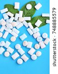 chewing gums with mint leafs on ... | Shutterstock . vector #748885579