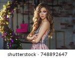 beautiful woman with fashion... | Shutterstock . vector #748892647