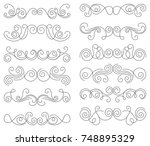 calligraphic design elements.... | Shutterstock .eps vector #748895329