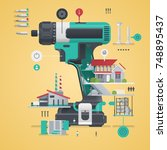 drill infographic  tool... | Shutterstock .eps vector #748895437