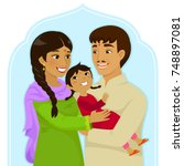 indian family of mother and... | Shutterstock .eps vector #748897081