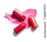 lipsticks and lipstick smear... | Shutterstock . vector #748897957