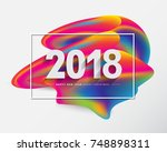 2018 merry christmas and happy... | Shutterstock .eps vector #748898311