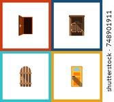 flat icon door set of approach  ... | Shutterstock .eps vector #748901911