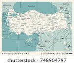 turkey map   vintage detailed...   Shutterstock .eps vector #748904797