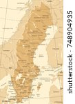 sweden map   vintage detailed... | Shutterstock .eps vector #748904935