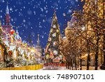 christmas in moscow. christmas... | Shutterstock . vector #748907101
