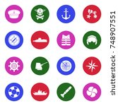 navy icons. white flat design... | Shutterstock .eps vector #748907551