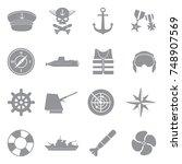 navy icons. gray flat design.... | Shutterstock .eps vector #748907569