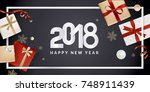 happy new year greeting card.... | Shutterstock .eps vector #748911439