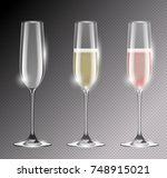 transparent champagne glass... | Shutterstock .eps vector #748915021