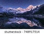 amazing night scene with... | Shutterstock . vector #748917514