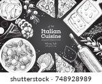 italian cuisine top view frame. ... | Shutterstock .eps vector #748928989