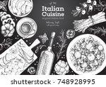 italian cuisine top view frame. ... | Shutterstock .eps vector #748928995