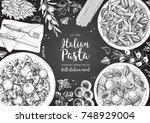 italian pasta frame. hand drawn ... | Shutterstock .eps vector #748929004