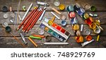 tools for the artist. objects... | Shutterstock . vector #748929769