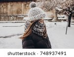 stylish hipster woman in... | Shutterstock . vector #748937491