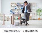 businessman having fun taking a ... | Shutterstock . vector #748938625