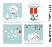 set of 4 cute christmas gift... | Shutterstock .eps vector #748941211
