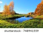 rural estates in the autumn... | Shutterstock . vector #748941559