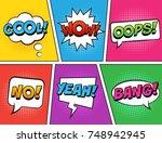 retro comic speech bubbles set... | Shutterstock .eps vector #748942945