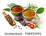 various spices isolated on...   Shutterstock . vector #748952491