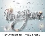 happy new year lettering... | Shutterstock .eps vector #748957057