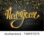 happy new year lettering... | Shutterstock .eps vector #748957075