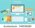 the workplace of a blogger  or... | Shutterstock . vector #748958389
