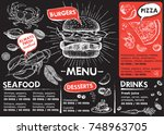 restaurant brochure vector ... | Shutterstock .eps vector #748963705